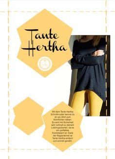 Da ist sie - Tante Hertha - das Wohlfühl-Shirt. Heute erscheint mein neues Ebook. Das Schnittmuster Tante Hertha. Ein lässig leichtes Shirt.