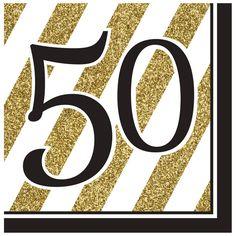 Descriptions Black & Gold 50th Lunch Napkins - Design : Black & Gold…