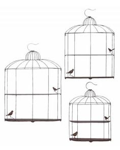 Three-piece metal wall decor set in gray with a birdcage motif. Product: Small, medium and large wall shelfConstruction Material: MetalColor: GrayDimensions: H x W x D (large) Metal Shelves, Wall Shelves, Shelf, Mounted Shelves, Wall Hooks, Shelving, Wall Decor Set, Metal Wall Decor, Floating Wall