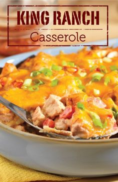 This king of all casserole recipes gets a punch of great flavor from picante sauce, chili powder and green onions. Try making a King Ranch Casserole dinner with leftover turkey or chicken—it'll be a hit!