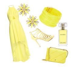 """yellow here"" by ayahbouguerra on Polyvore featuring moda, Kate Spade, Tory Burch, Jimmy Choo, Saachi e Estée Lauder"