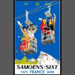 A ski lift is illustrated in this vintage travel poster showing that this French resort is both a vacation place for the winter as well as for the summer.
