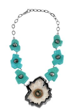 """Giuliana Mancinelli Bonafaccia - Turquoise galuchat leather necklace with silver dipped in black ruthenium, rock crystal """"flower"""" and diamonds."""
