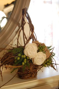 Rustic Winter Flower Girl Basket. $30.00, via Etsy.