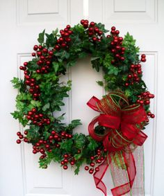 Christmas Wreath Mesh Bow Wreath Berry Wreath by SweetIvyWreaths, $68.00