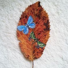 painting on leaves