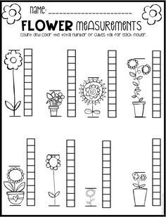 Spring Math and Literacy Printables and Worksheets for Pre-K and Kindergarten If you are like me, you are scrambling to find fun and engaging spring activities that help build skills in the areas of ELA and… Measurement Kindergarten, Measurement Worksheets, Kindergarten Math Worksheets, Preschool Math, Teaching Math, Counting Worksheet, Kindergarten Rocks, Pre K Worksheets, Number Worksheets