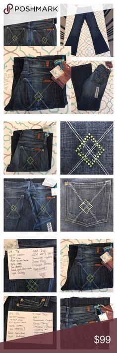 """💙👖Awesome 7FAM Dojo👖💙29 7/8 & 24 00 33"""" Inseam NWT!💙👖Awesome 7 For All Mankind Dojos👖💙Green Diamond Pattern. Wide Leg. Sizes 29 & 24 Available. Size 29 (7/8) 33.5"""" Inseam, 8.5"""" Rise, 15.5"""" Across Back. Size 24 (00) 32.75"""" Inseam, 7.75"""" Across Back, 13"""" Across Back (1 missing crystal, replacement included). New With Tags! 100% Cotton!! No Stretch!! Please Compare measurements with your own pants that fit. Dojos run TTS. Faded Dark Blue. Light Fading. Very Lightly Distressed (hems…"""