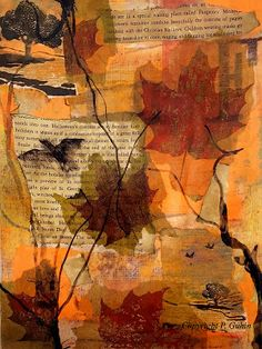 PAPER NAPKINS, AUTUMN LEAVES, & A COLLAGE - PAINTING