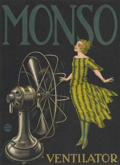 Vintage Monso Fans French Advertising poster (1920s). Artist unattributed. via Retro Snapshots.