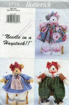 "Butterick Pattern 3718 ~ ""Needle in a Haystack!!"" Pammy Bear Dolls"