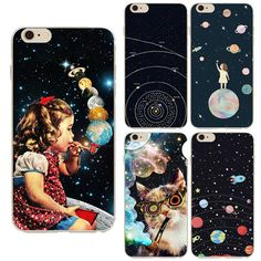 Airship Astronaut Stars Case Cover For Apple iPhone 5 5S Case Silicone Star Universe Series Case