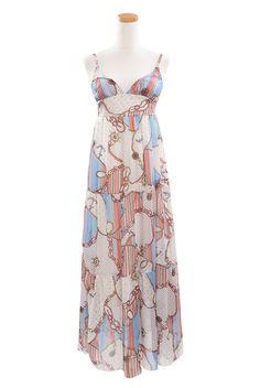 #SheInside Bohemia Blue And White Spaghetti Strap Long Chiffon Dress