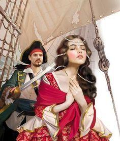 by Tatiana Doronina Pirate Woman, Pirate Life, Romantic Writers, Golden Age Of Piracy, Pin Up, Princess Aesthetic, Fairytale Art, Russian Art, Sketch Design