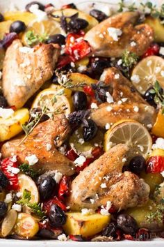 This One Sheet Pan Greek Style Easy Baked Chicken Dinner will save you at dinner time! You can throw everything onto your sheet pan and let it bake into a delicious dinner. The sauce that forms is so good!   savorynothings.com
