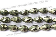 beautiful Pyrite Faceted Drops St.Drill by GemstoneWholesaler