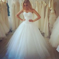 THIS. This is exactly what I want! A strapless princess style dress with poofy toole bottom... OMG I want it...