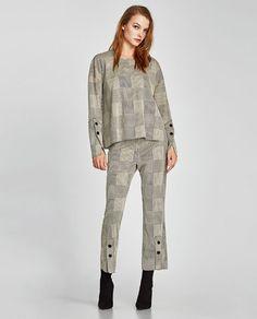 Zara'dan 1  ÇITÇITLI KARELİ PANTOLON Resmi Checked Trousers, Zara Women, Military Jacket, Flannel, Velvet, Blouse, Jackets, Buttons, Tops