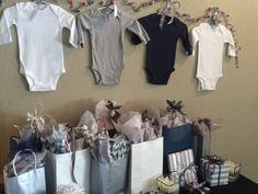 Second cousins(?) baby shower! Navy, grey, silver and white.
