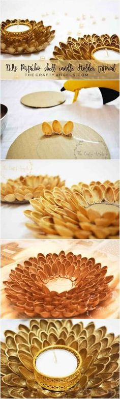 Easy to make DIY pistachio shell candle holder for diwali decoration, diwali… … – Craft Diya Decoration Ideas, Diwali Decorations At Home, Festival Decorations, Paper Decorations, Shell Candles, Diy Candles, Pista Shell Crafts, Diwali Craft, Diwali Diya