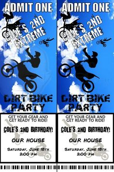 Dirt Bike Birthday Party Prints As A 4x6 And Can Be Cut In Half For
