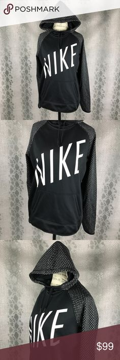 Nike Dri-fit pull over black hoodie w polka dots Excellent condition .  No flaws .  Black sweatshirt with hoodie . Kangaroo style front pocket . Oversized loose  fit not fitted style . Nike Jackets & Coats