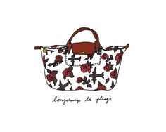 Longchamp Roses & Planes | Illustration Print by Coco Draws
