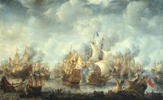 Slag bij Ter Heide- Battle of Scheveningen (Battle of Ter Heide (31.july)10.august 1653- (17th Century, Battle Scenes, Drawings, Dutch Navy, First Anglo-Dutch War, Willem van de Velde the Elder)painted by Jan Abrahamsz between 1653 and 1666. The flagship of Admiral Tromp, the Brederode and the Resolution under the flag of Monck can be seen in the middle of this painting. Rijksmuseum Amsterdam By the middle of the 17th Century the tensions rose between the Commonwealth of England and the…