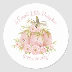 Elegant Pink Pumpkin Baby Shower Girl Classic Round Sticker - - Elegant pink pumpkin baby shower sticker labels, great for party favours, envelopes seals and cupcake toppers. Matching items available in store. (c) The Happy Cat Studio. Baby Shower Fall, Girl Shower, Baby Shower Favors, Baby Shower Invitations, Shower Party, Fall Baby, Pink Pumpkin Party, Baby In Pumpkin, Little Pumpkin