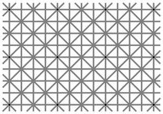 世間を今賑わせている錯覚現象。スモッキングのような柄をしたグレーの線上に散在するのは、12個の黒いドット。一度にすべてのドットが見えますか?