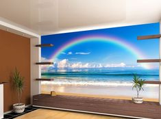 Rainbow Sea Photo Wallpaper Blue Sky Clouds MURAL Relaxing Room Art WALL DECOR