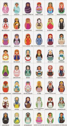 world Matryoshkas.not quite kokeshi but same family Afghan Girl, Matryoshka Doll, Kokeshi Dolls, Thinking Day, Art Plastique, Felt Crafts, Girl Scouts, Paper Dolls, Bunt