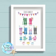 Welly Boot family tree print includes different wellies for each member of the family. Lots of welly boot designs to choose from. Personalised Family Print, Family Tree Print, Personalized Flip Flops, Family Drawing, New Business Ideas, Wellies Boots, Wall Drawing, Nursery Art, Nursery Prints