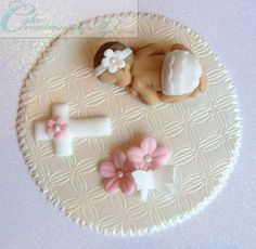 Christening Fondant Baby Cake Topper in Diaper with Blanket Cross Flowers & Butterfly