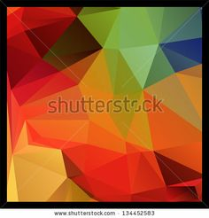 Colorful red and green polygon abstract background, vector by Natalyon, via ShutterStock