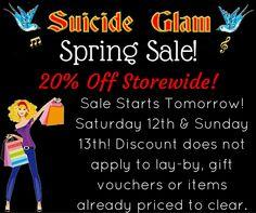 Spring Sale! 20% Off Storewide This Weekend! Retro Clothes, Rockabilly, Gothic, Alternative Clothes - Suicide Glam Australia https://www.facebook.com/suicideglamaustralia