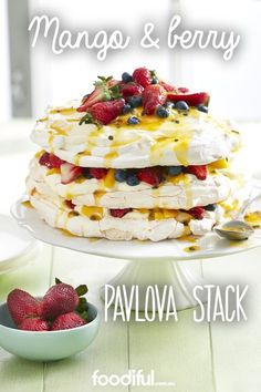 Looking for something other than pudding to serve at Christmas dessert? Try this pavlova recipe stack, with fresh summer fruit like mangoes, blueberries and strawberries/ It serves 12 and takes 1 hr and 50 mins.