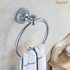 29.25$  Buy here - http://aijw9.worlditems.win/all/product.php?id=32563697423 - Beelee BL8411C  Wholesale and Retail High-end Retro Style Wall Mount Towel Ring Solid Brass Towel Bar Towel Rack Chrome