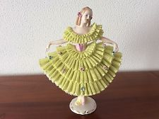 Lovely dresden sitzendorf porcelain lady seldom lime green lace figurine figure