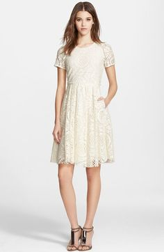 Burberry London 'Velma' Short Sleeve Lace Fit & Flare Dress available at #Nordstrom