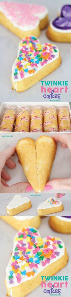 Twinkie Heart Cakes - How to make hearts with Twinkies.- Twinkie Heart Cakes – How to make hearts with Twinkies. LOVE THIS idea for Vale … Twinkie Heart Cakes – How to make hearts with Twinkies. LOVE THIS idea for Valentine's Day # for - Valentines Day Desserts, Valentine Treats, Holiday Treats, Holiday Recipes, Kids Valentines, Valentine Party, Heart Shaped Cakes, Heart Cakes, Cake Pops