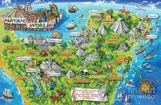Mexico illustrated map - Mayan world Aztec Ruins, Mayan Ruins, Peru, Mayan History, Chile, Mayan Cities, Tourist Map, Quintana Roo, Inca