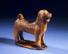 Attributed to John Bell  Redware Dog  SOLD  glazed redware  Shenandoah Valley, Pennsylvania  circa 1850-60  9 inches high