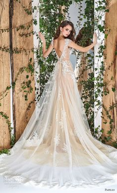 papilio 2018 bridal cap sleeves sheer bateau deep sweetheart neckline romantic champagne a line wedding dress open v back chapel train (9) bv #weddingdress