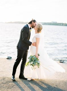 Photography : 2 Brides Photography | Wedding Dress : Ida Sjöstedt | Floral Design : The Wild Rose Read More on SMP: http://www.stylemepretty.com/2016/01/20/contemporary-summer-stockholm-wedding/