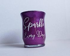 Items similar to Sparkle Every Day purple Glitter Makeup Brush Holder Glittered make up storage Younique Swag Lipsense Display Cosmetic Storage for makeup on Etsy - Glitter Jars, Glam And Glitter, Purple Glitter, Glitter Makeup, Eyeshadow Makeup, Makeup Brushes, Eyeliner, Mascara, Makeup Jars