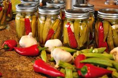 Canned okra and peppers. Visit www.pallensmith.com for more photos, recipes, and tips.
