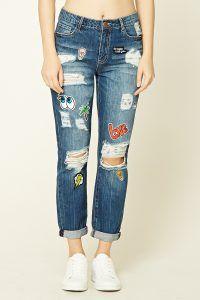 Jeans boyfriend con parches Image