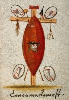 The wounds of Christ and the Instruments of his Passion. Gouache. | Wellcome Collection