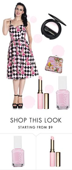 """Harlequin 50's Dress"" by rockabillypinup ❤ liked on Polyvore featuring Essie, Clarins and Dr.Hauschka"